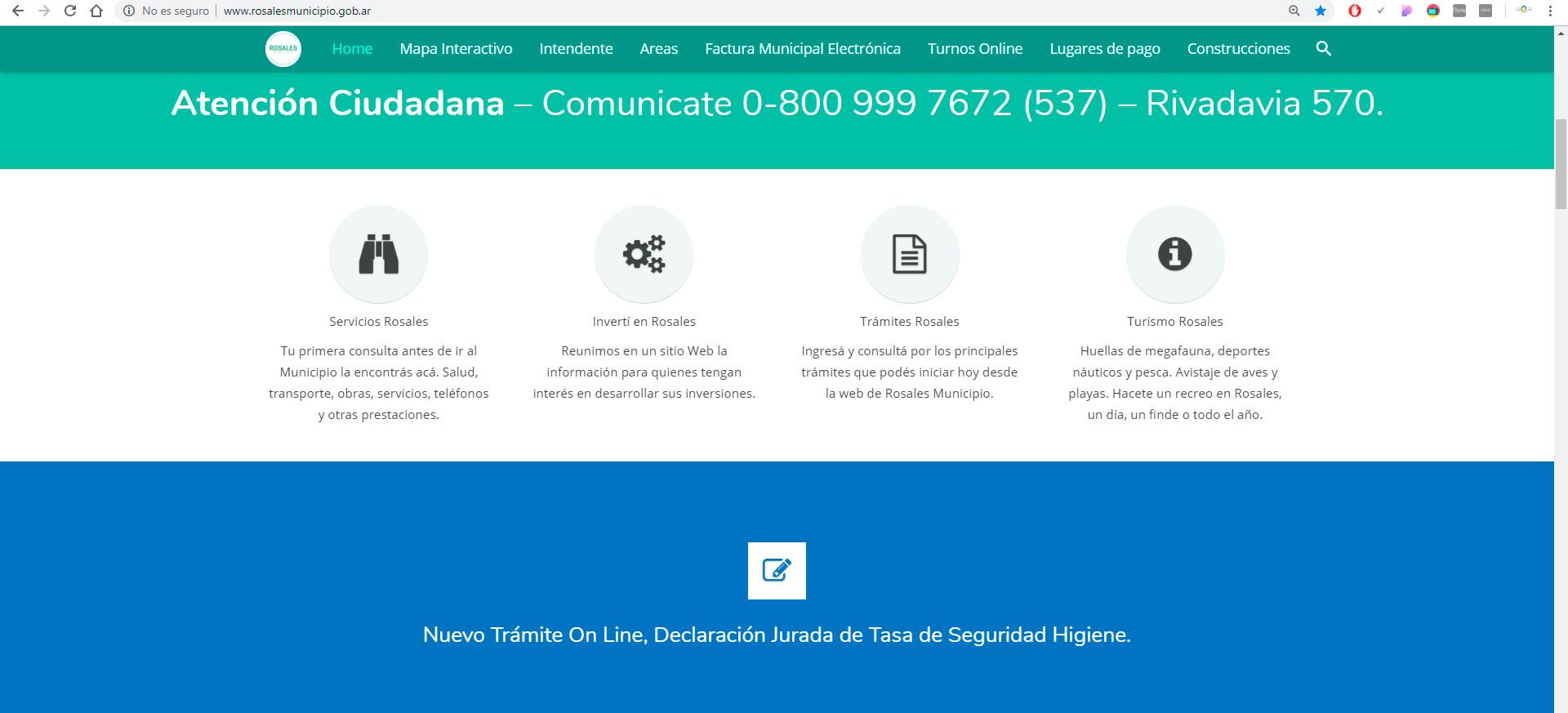 La pagina web www.rosalesmunicipio.gob.ar se encuentra de nuevo en línea.