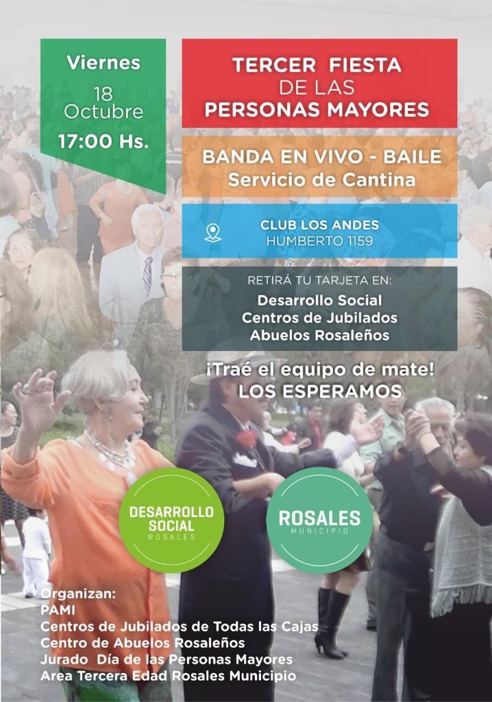 El 18 de octubre se llevará a cabo la 3° Fiesta de Adultos Mayores en Rosales