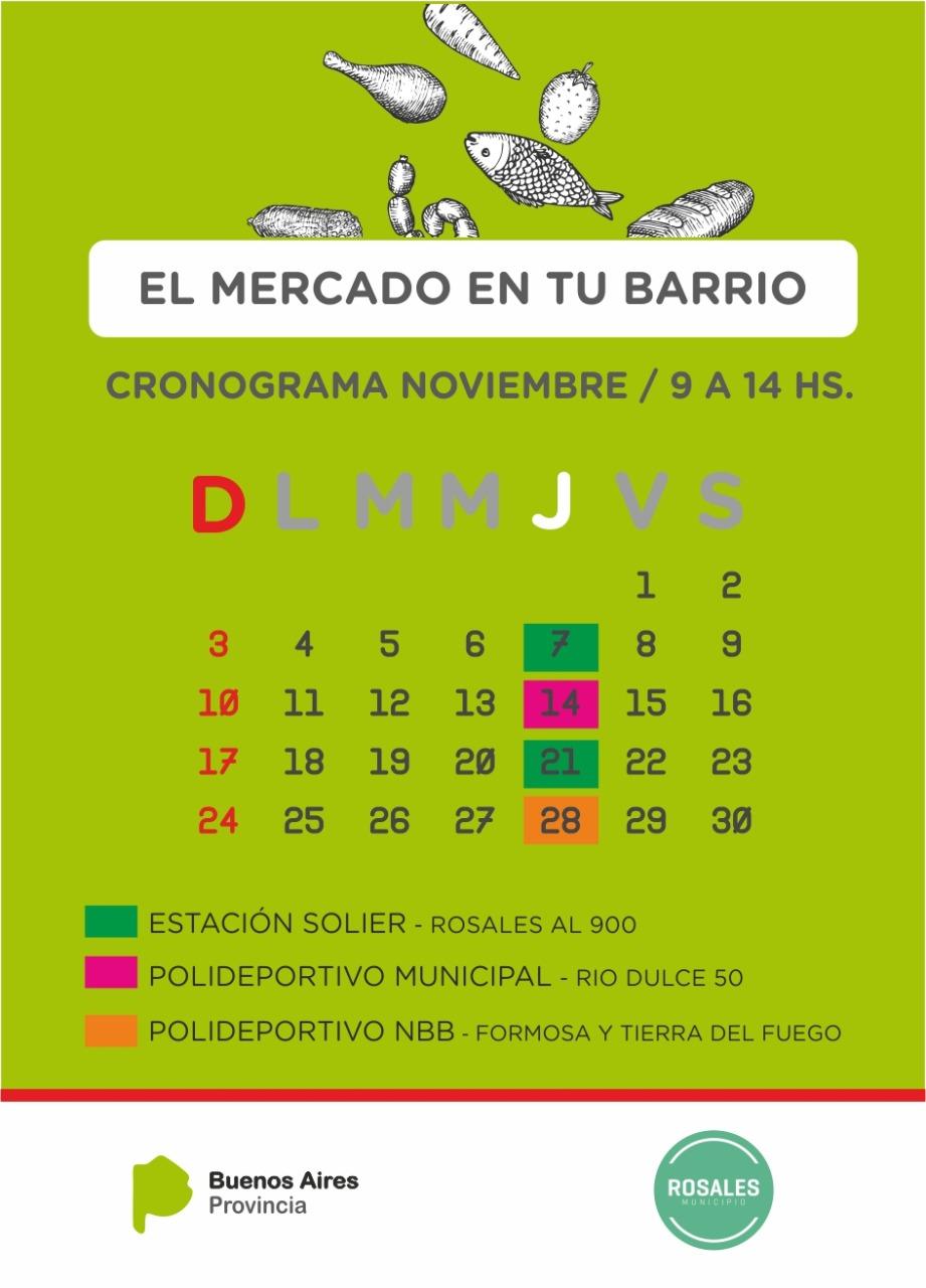 """Así será el cronograma del programa """"El mercado en tu barrio"""" durante noviembre"""