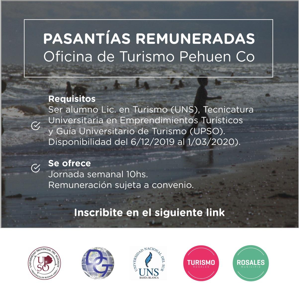 Se ofrecen pasantías remuneradas para la Oficina de Turismo en Pehuen Co